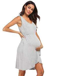 Ekouaer Maternity Dress Nursing Nightgown Breastfeeding Nightshirt Sleepwear (Grey, X-Large)