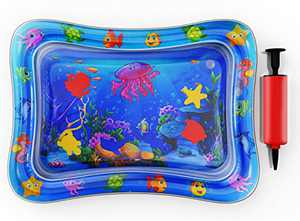 Tummy Time Water Play Mat for Infants -Water Floor Play Mat - Activity Center – Stimulates Your Baby's Growth - Boys and Girls Tummy time mat with Pump