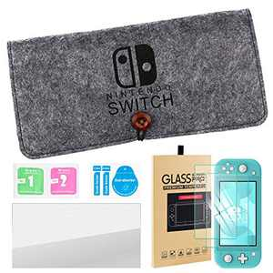 Carrying Case for Nintendo Switch Lite, Portable Travel Carry Bag Ultra Slim Professional Protective Felt Pouch for Nintendo Switch Lite 2019 with 5 Game Cartridges Holders -Grey