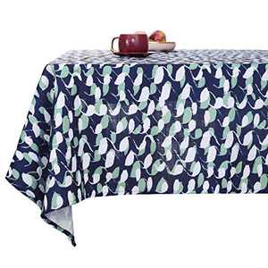 Deconovo Faux Linen Loops Pattern Rectangular Table Cloth Water Resistant and Spill Resistant Faux Linen Tablecloths for Picnic 54x84 Inch Navy Blue