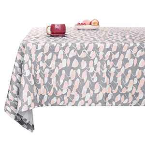 Deconovo Faux Linen Loops Pattern Rectangular Table Cloth Water Resistant and Spill Resistant Designer Series Table Cover for Picnic 54x84 Inch Grey