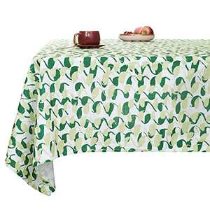 Deconovo Designer Series Faux Linen Pattern Rectangular Table Cloth Water Resistant and Spill Resistant Table Cover for Picnic 54x84 Inch White