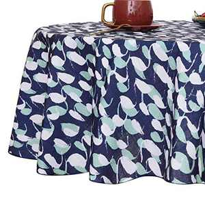 Deconovo 54 inch Round Table Cloth Faux Linen Pattern Water Resistant and Spill Resistant Faux Linen Tablecloth for Round Table Navy Blue