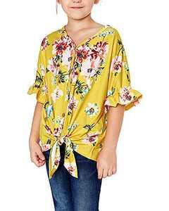 Geckatte Girls Floral Boho Short Sleeve T Shirt Kimono V Neck Button Down Boho Outfit Casual Tops Blouses Yellow