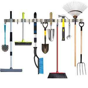 Piyl Broom Mop Holder Wall Mount Metal Tool Organizer Heavy Duty Holds Up to 30 lbs, Home Garage Garden Hooks Hanger Rack Storage 2packs