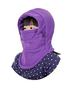 YR.Lover Children's Double-Deck Winter Windproof Cap Thick Warm Face Cover Adjustable Ski Hat (Purple2)