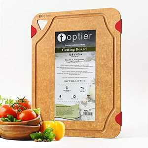 Cutting Board, TOPTIER Wood Fiber Cutting Board for Kitchen, BPA Free, Dishwasher Safe, Reversible, Juice Groove, Eco-Friendly, Non Porous, Natural Medium Cutting Board, 14.5 x 11-inch, Natural Red