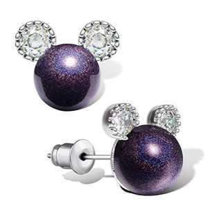 Pearl Stud Earrings for Women,Hypoallergenic 7mm CZ Cute Mouse Stainless Steel Earrings (10 colors) (Dpurple) (Dpurple)