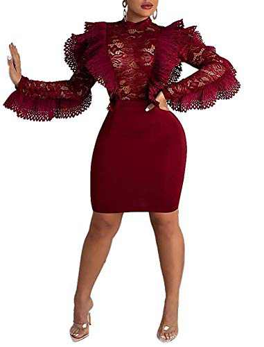 Women Floral Lace See Through Dress Patchwork Ruffle Long Sleeve Bandage Midi Party Cocktail Dress Clubwear Wine Red