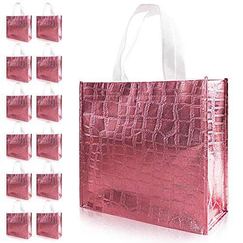 LadyRosian 12 Pcs Glossy Reusable Grocery Bag, Non-woven Shopping Bag with Handle, Rose Gold Bridesmaid Gift Bags, Present Bag for Holiday Party, Event, Wedding, Birthday
