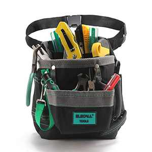 """ELECALL Black Tool Pouch Bag with 6 Multiple Pockets Tool Pouches Electrician Tool Belt Pouches and Heavy Duty Oxford Material Waist Tool Bag 9""""×8"""""""