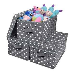 GRANNY SAYS Large Storage Bins with Lids, Fabric Container Storage Boxes, Closet Storage Baskets for Toys & Kids' Books, Cute Star Pattern, Dark Gray, 3-Pack