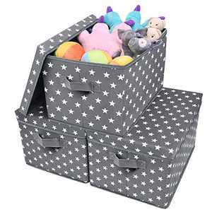 GRANNY SAYS Storage Bin with Lid, Kid's Storage Box, Toy Storage Basket Nursery Storage Containers with Lids, Cute Star Pattern, Dark Gray, 3-Pack