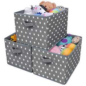 GRANNY SAYS Kid's Fabric Storage Bin Toy Storage Basket, Nursery Storage Closet Organizer Bins, Cute Star Pattern, Dark Gray, 3-Pack