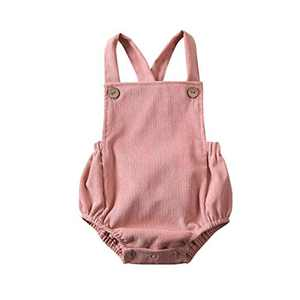 Newborn Infant Baby Girl Clothes Corduroy Halter Backless Jumpsuit Romper Bodysuit Sunsuit Outfits Set (12-18M, A-Pink)