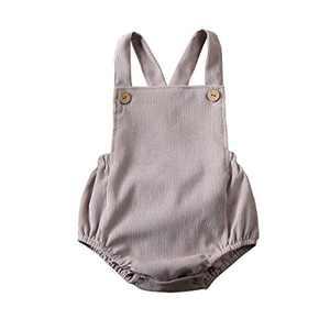 Newborn Infant Baby Girl Clothes Corduroy Halter Backless Jumpsuit Romper Bodysuit Sunsuit Outfits Set (18-24M, A-Gray)