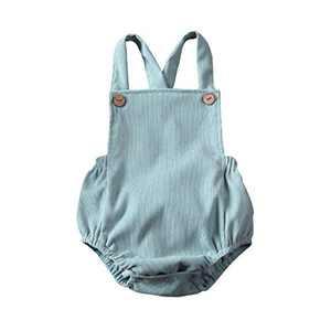 Newborn Infant Baby Girl Clothes Corduroy Halter Backless Jumpsuit Romper Bodysuit Sunsuit Outfits Set (18-24M, A-Mint Green)