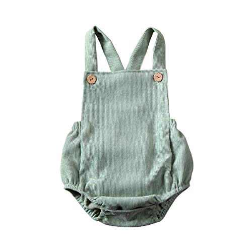 Newborn Infant Baby Girl Clothes Corduroy Halter Backless Jumpsuit Romper Bodysuit Sunsuit Outfits Set (12-18M, A-Bean Green)