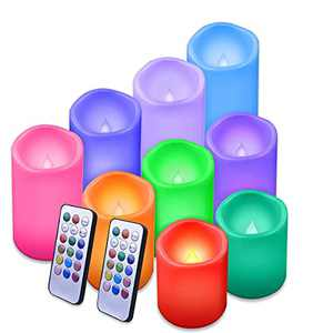 """Enido Flameless Candles Led Candles Waterproof Outdoor Candles Color Changing Candle with Remote Control Pack of 9 Plastic(D3"""" x H4""""5""""6"""")Color Flameless Candles (Battery not Included)Pillar Candles"""