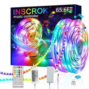 Inscrok LED Strip Lights 65.6ft - Music LED Light Strip - LED Lights for Bedroom, Aesthetic Room Decor, Home Decorations, Dorm Decor