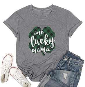 Lucky Mama Plaid T-Shirt Women St Patricks Day Short Sleeve Cute Tee Tops Lucky Plaid Shirts (L, Gray2)