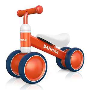 Bammax Baby Balance Bike for 1 Year Old Toddler, Riding Toys for 9-24 Months Boys Girls, No Pedal Infant 4 Wheels Baby Bicycle First Birthday Gift Cute Toddler Bike to Help Baby to Start Riding