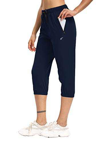 Womens Lightweight Joggers Capri Pants UPF 50+ Hiking Pants Sun Protect Capris for Summer(Blue,M)