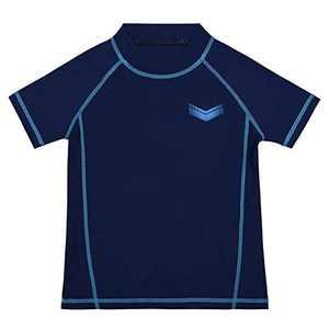 Cadocado Boys' Short Sleeve Swim Shirt Rash Guard Bathing Suit Surfing Beachwear Diving Suits,Blue,11Y