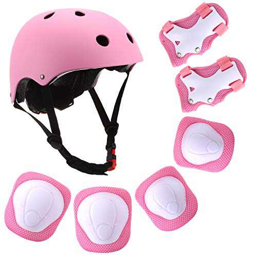 Szulight Kids Protective Gear Set Adjustable Helmet Knee Elbow Pads Wrist Guards Pads for 3-8 Years Toddler Boys Girls, Roller Skating Skateboard Scooter Cycling Bike. (Pink)