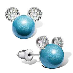 Pearl Stud Earrings for Women,Hypoallergenic 7mm CZ Cute Mouse Stainless Steel Earrings (10 colors) (Blue)
