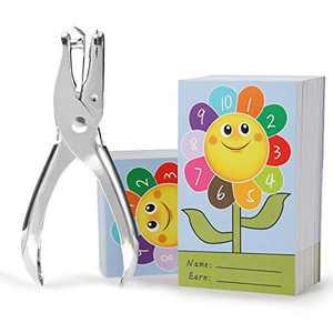 "ONEDONE Punch Cards 200 Pack Incentive Reward Cards for Classroom Kindergarten Preschool Home 3.9"" x 2.3"" Sunflower Reward Punch Card for Teachers Students Kids Behavior Management"
