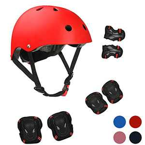Kids Bike Helmet Sports Protective Gear Set for 3-13 Years Boy Girl Adjustable Toddler Youth Cycling Helmet with Knee Elbow Wrist Pads Skateboard Helmet CPSC Certified (Red)