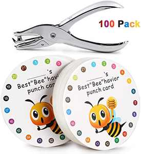 "ONEDONE Reward Punch Cards 3.9"" Round Behavior Reward Cards Hole Punch Kit Awards Punch Cards for Kindergarten Prescool Home School Supplies for Teachers Students Kids (100 Pack)"