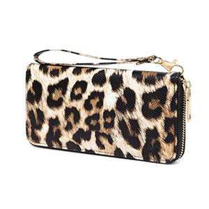 VISATER Leopard Wallets for Women Cheetah Animal Print Ladies Purse Long Zipper PU Leather Cards Slots, Wallet-b, Large