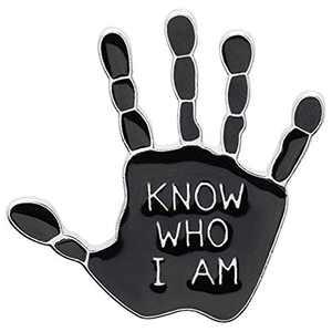 Enamel Pin Brooch Badges for Clothes Bag Lapel Black Palm Konw Who I Am