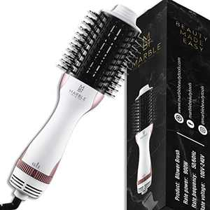 Professional One Step Hair Dryer Brush, Fast 3 in 1 Hot Air Blower Brush, Straightening Round Brush, Volumizer/Glow Styler Beauty Tool, White Rose Gold Curling Salon Electric Blowout Comb