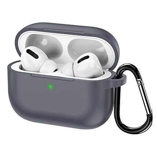 KWQ Compatible for Airpods Pro Case Cover 2019, [Front LED Visible] [Shock Proof] Soft Silicone Protective Cover for Apple Airpods 3 (Gray) …
