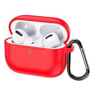 KWQ Compatible for Airpods Pro Case Cover 2019, [Front LED Visible] [Shock Proof] Soft Silicone Protective Cover for Apple Airpods 3 (Red) …
