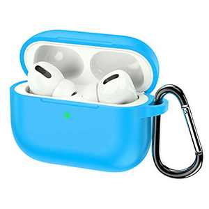 KWQ Compatible for Airpods Pro Case Cover 2019, [Front LED Visible] [Shock Proof] Soft Silicone Protective Cover for Apple Airpods 3 (Blue) …