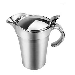ShineMe Stainless Steel Gravy Boat Sauce Jug with Lid, Double Wall Insulated, Storage for Gravy or Cream, Used at Home & Kitchen (15oz)