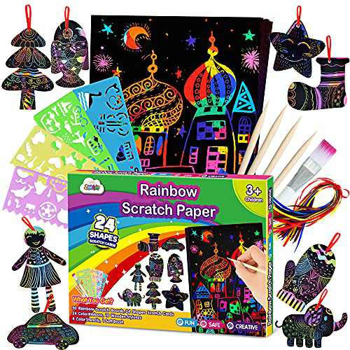 ZMLM Scratch Paper Art Set for Kids - Rainbow Magic Scratch Off Arts and Crafts Supplies Kits Sheet Pack for Children Girls Boys Birthday Game Party Favor Christmas Easter Craft Gifts