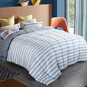 """CHOKIT All Season Queen Stripe Comforter Soft Quilted Down Alternative Duvet Insert with Corner Loops, Reversible Fluffy Hotel Collection, Grey White Stripe, 88"""" x 88"""""""