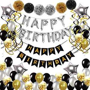 Birthday Decorations for Men and Women, Birthday Party Supplies 89 Pcs with Double Happy Birthday Banner Gold and Black for Boys Girls 16th 18th 20th 21st 30th 40th 50th 60th Party Supplies