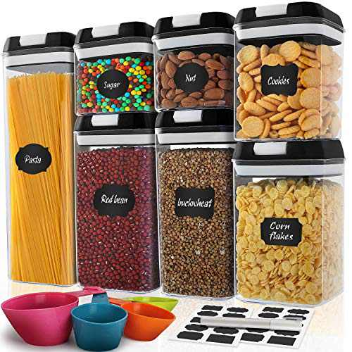Airtight Food Storage Containers - MCIRCO 7 Pcs BPA Free Plastic Containers with Upgraded Lids - Kitchen & Pantry Organization and Canisters for Cereal,Flour, Include Label,Marker and Measuring Tools