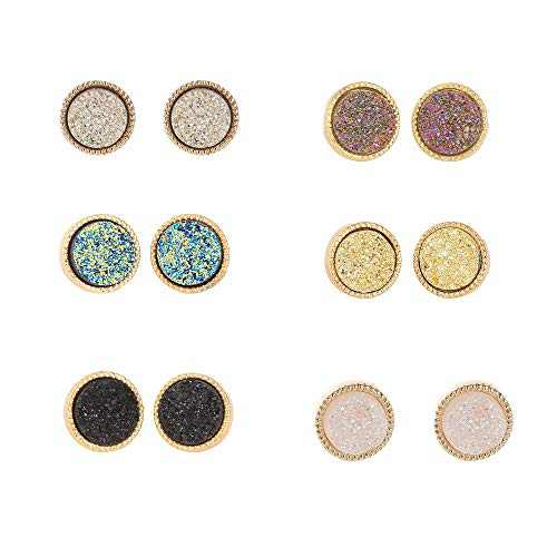 6 Pairs Drusy Crystal Stud Earrings Set for Girls Women Round Triangle Rhombus Hexagon Shape Ear Rings Fashion Simple Casual Lightweight Jewelry