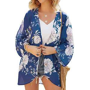 Womens Floral Chiffon Casual Cardigan - Bikini Half Sleeve Kimono Shawl Sun Protection Blouses Beach Wear Cover ups (S, Purple Flower)