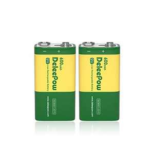 Deleepow 9V Lithium Battery 600mAh High Capacity Rechargeable 9V Batteries with Long Lasting Service Time, 2 Packs