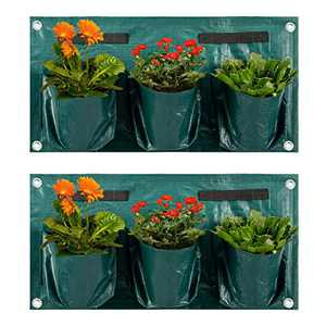 ANPHSIN-Large 2 Pcs Hanging Wall Pocket Vertical Plant Grow Bags Pots Container for Balcony Railings Garden Fence-Singe Sided