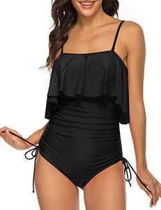 SELINK Women's One Piece Swimsuit Vintage Spaghetti Strap Side Tie Ruffle Bathing Suits Black XXL