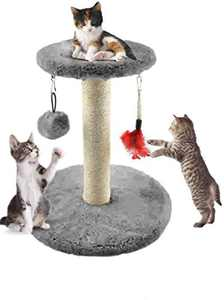 MXiiXM Cat Tree Tower for Kitten, cat Climbing Frame Furniture Scratching Post for Kitty Climber House Cat Play Tower Activity Centre for Playing Relax and Sleep (6.30 X 10.24 X 11.81 inch, Gray)